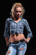 young casual blonde in jeans and shirt