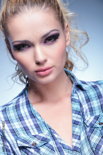beautiful blonde in casual shirt and beauty make up