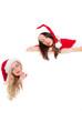 weihnachtsfrauen mit plakat