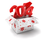 New year 2014 in box (clipping path included)