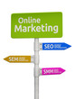 Online Marketing road sign pointing to SEO, SEM and SMM