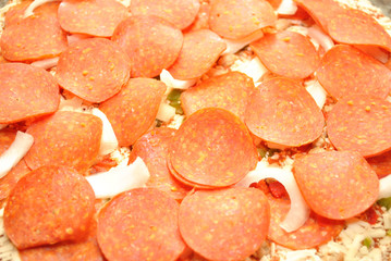 Lots of Pepperoni on a Raw Pizza Pie