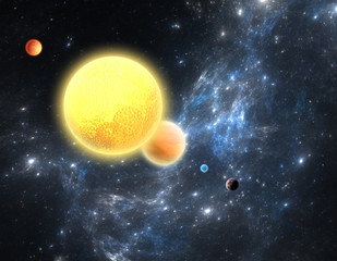 Planetary system with a red dwarf star