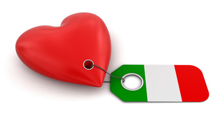 Heart with Italian flag (clipping path included)