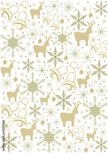 christmas pattern with snowflakes, bells and deers