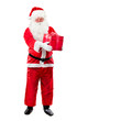 Santa Claus with Christmas Gift Box isolated on White Background