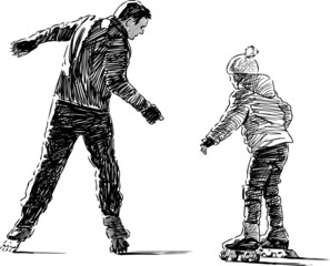 Father and daughter on roller skates