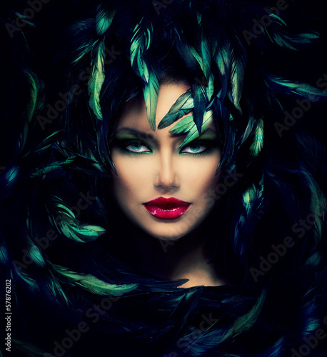 Mysterious Woman Portrait. Beautiful Model Woman Face Closeup