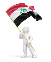 Man and Iraq flag (clipping path included)