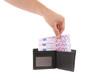 Five hundred euro bills in hand.