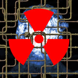 Radioactivity sign on metal element