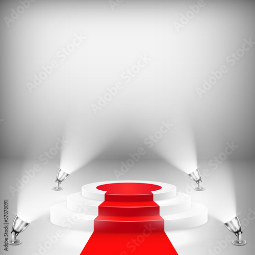 Illuminated Podium With Red Carpet