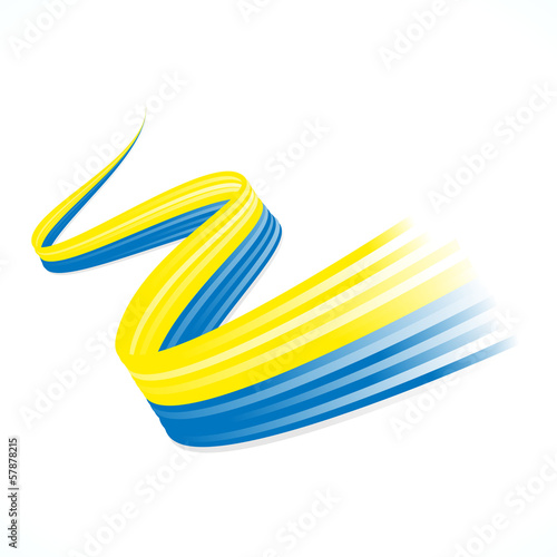 Abstract Ukrainian winding flag isolated on white background