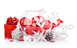 christmas red ball with festive tinsel isolated on white
