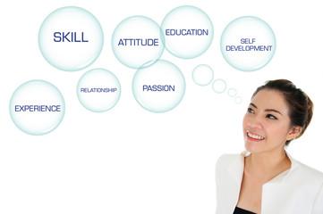 Business woman looking at self development plan