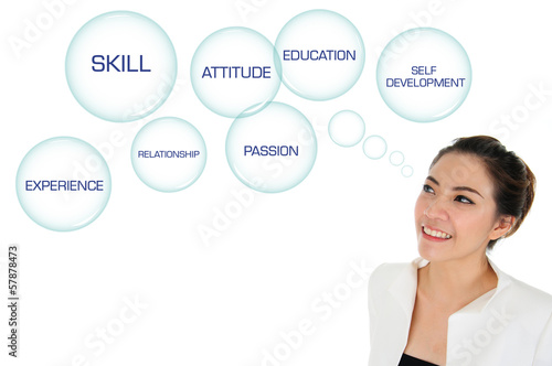 Business woman looking at self development plan