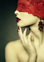 Retro woman wih red ribbon