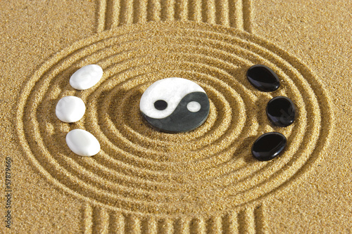 Japanese zen garden with stones of yin and yang