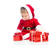 Santa Claus baby girl with gift box isolated