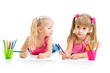 kids drawing together over white background