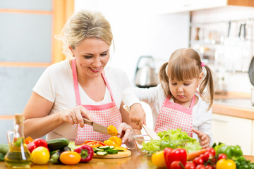mom and kid girl preparing healthy food