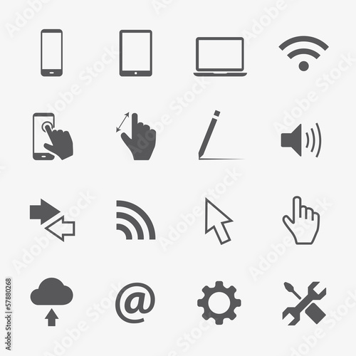 16 Computer vector icons set
