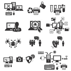 Computer service and maintenance icon set