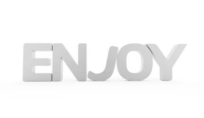 Enjoy word rendered black and white isolated