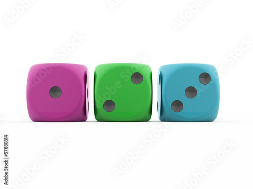 Three colored dice isolated on white