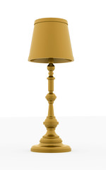 Classic yellow vintage lamp rendered