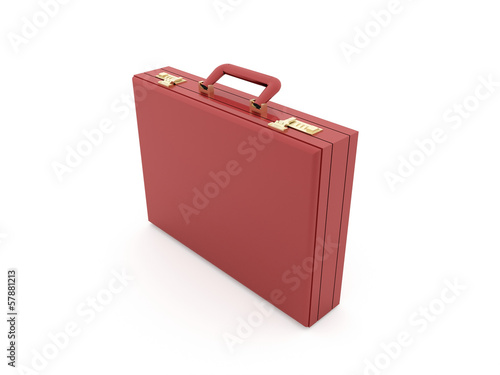 Red suitcase rendered isolated on white