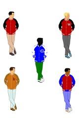 men in varsity lettermen jackets