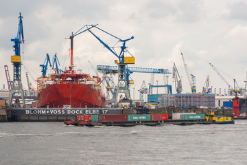 View of a huge ship building dock