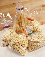 Cellophane bags containing different pastas