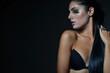 fashion photo of beautiful woman, studio shot