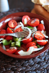 salad with cherry tomatoes,onions and green peppers