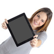 Top view of a woman showing a blank digital tablet screen - 57882629