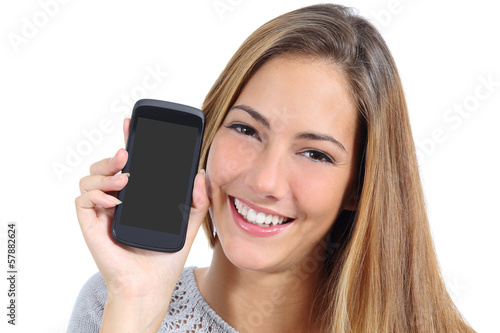 Cute girl showing a blank smart phone screen isolated