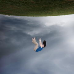 Surreal woman falling