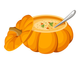 Soup in pumpkin. Vector illustration.