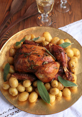 chicken with potatoes for Christmas dinner