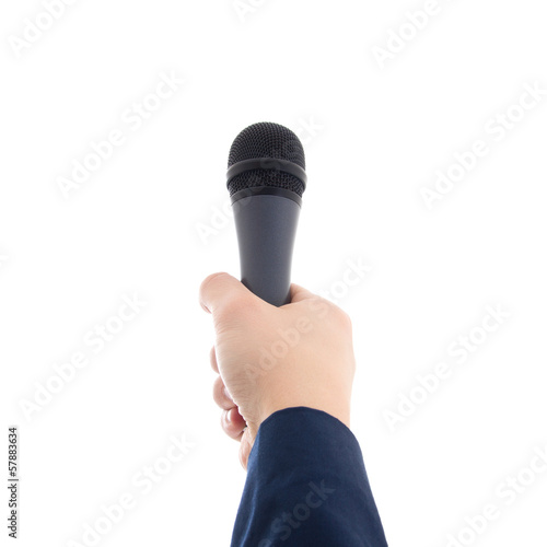 hand holding a microphone isolated on white