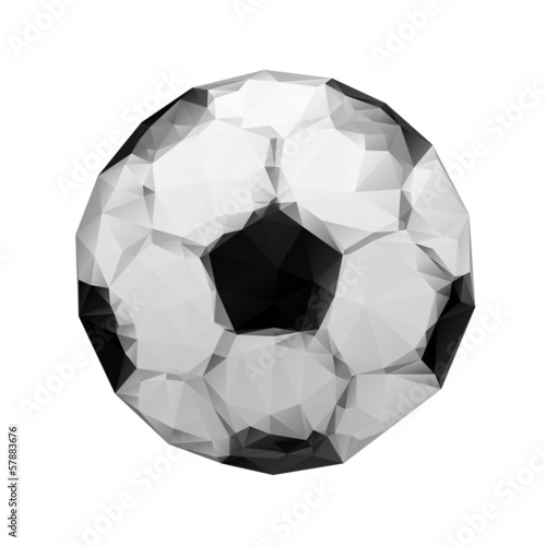 Abstract geometric polygonal football. Wrinkled paper. Origami