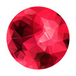 Abstract geometric polygonal red sphere. Garnet color.