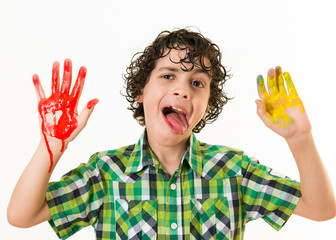 Mocker child with hands paint smear