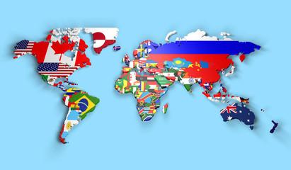 Planisfero mondo 3d con bandiere in rilievo