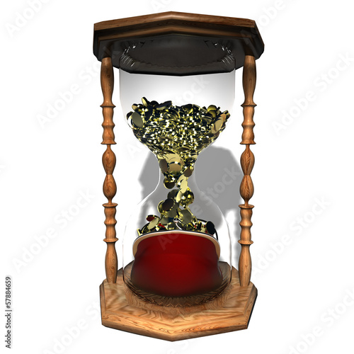 coins hourglass  time is money
