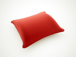 Red pillow rendered isolated on white