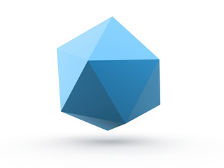 Polygonal abstract blue sphere concept isolated