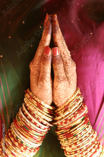 Henna design on Indian bride's hands